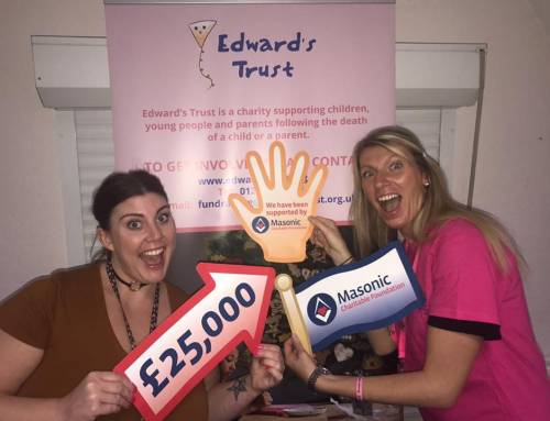 Edward's Trust thank the Masonic Charitable Foundation for a recent £25K donation